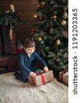 beautiful baby boy on christmas ...   Shutterstock . vector #1191203365