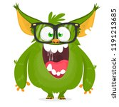 cartoon monster wearing glasses.... | Shutterstock .eps vector #1191213685