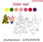 funny little pig decorating ... | Shutterstock .eps vector #1191254578