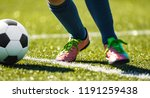 close up soccer football kick... | Shutterstock . vector #1191259438