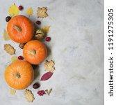 autumn composition. pumpkins ... | Shutterstock . vector #1191275305
