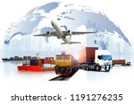transportation  import export... | Shutterstock . vector #1191276235