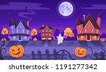 halloween night funny ghost...   Shutterstock .eps vector #1191277342