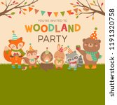 cute woodland cartoon animals... | Shutterstock .eps vector #1191320758