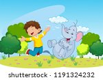 boy and elephant laughing and... | Shutterstock . vector #1191324232