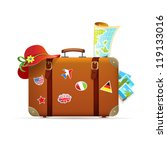 baggage,hat,isolated,journey,map,sticker,suitcase,tourism,travel,travel bag,trip,vacation,vector,voyage
