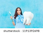 Funny Woman Holding Oversized...