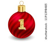 red christmas ball with letter 1 | Shutterstock .eps vector #1191398485