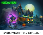 happy halloween background  ... | Shutterstock .eps vector #1191398602