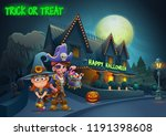 happy halloween background  ... | Shutterstock .eps vector #1191398608