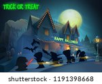 happy halloween background  ... | Shutterstock .eps vector #1191398668