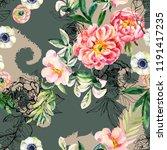 watercolor and ink doodle...   Shutterstock . vector #1191417235