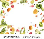 flying fruits and vegetables...   Shutterstock . vector #1191419128