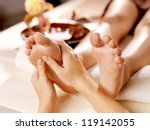 massage of human foot in spa... | Shutterstock . vector #119142055