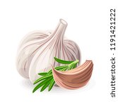 garlic whole and piece with... | Shutterstock .eps vector #1191421222