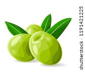 olives green with leaves on... | Shutterstock .eps vector #1191421225
