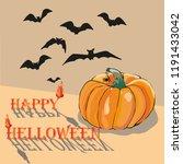 happy helloween. pumpkin. the... | Shutterstock .eps vector #1191433042