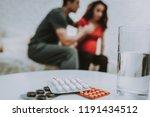 table. room. tablets. feels bad.... | Shutterstock . vector #1191434512