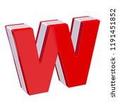 red glossy alphabet letter w on ... | Shutterstock . vector #1191451852