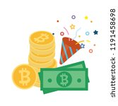 stack of golden bitcoin with... | Shutterstock .eps vector #1191458698