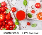 glass of fresh organic tomato... | Shutterstock . vector #1191463762