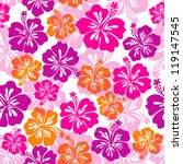 seamless pattern with hibiscus... | Shutterstock .eps vector #119147545
