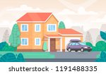 facade of the house is with a... | Shutterstock .eps vector #1191488335