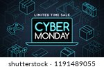 cyber monday promotional sale ... | Shutterstock .eps vector #1191489055