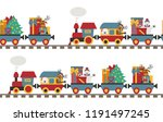 christmas train with bear ... | Shutterstock .eps vector #1191497245