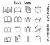 book icon set in thin line style | Shutterstock .eps vector #1191500872