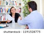 successful job interview and... | Shutterstock . vector #1191528775