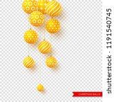 3d christmas yellow balls with... | Shutterstock .eps vector #1191540745