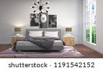 bedroom interior. 3d... | Shutterstock . vector #1191542152