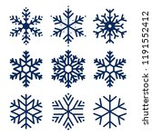 vector snowflakes icons. set of ... | Shutterstock .eps vector #1191552412