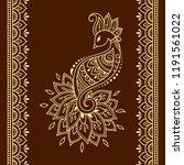 set of mehndi flower  peacock... | Shutterstock .eps vector #1191561022