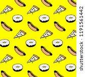 street food pattern donut hot... | Shutterstock .eps vector #1191561442
