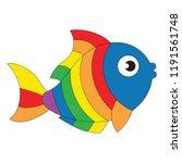 rainbow fish animal funny... | Shutterstock .eps vector #1191561748