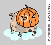 pumpkin dog cute vector... | Shutterstock .eps vector #1191567592