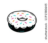 donut isolated with glaze... | Shutterstock .eps vector #1191580645