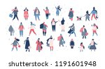 crowd of people in warm winter... | Shutterstock .eps vector #1191601948
