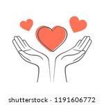 heart in his hands. symbol of... | Shutterstock .eps vector #1191606772