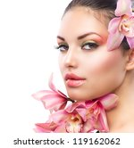 beautiful girl with orchid... | Shutterstock . vector #119162062