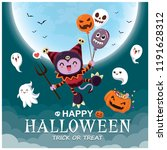 vintage halloween poster design ... | Shutterstock .eps vector #1191628312