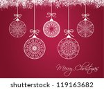 christmas balls on colorful... | Shutterstock .eps vector #119163682