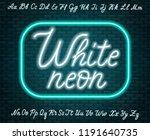 white neon script. uppercase... | Shutterstock .eps vector #1191640735