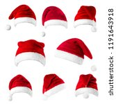 set of red santa claus hats... | Shutterstock . vector #1191643918