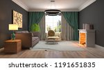 interior of the living room. 3d ... | Shutterstock . vector #1191651835