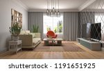 interior of the living room. 3d ... | Shutterstock . vector #1191651925