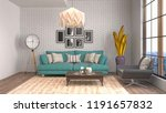 interior of the living room. 3d ... | Shutterstock . vector #1191657832
