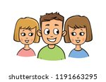 young guy and two girls smiling.... | Shutterstock .eps vector #1191663295
